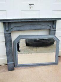 Stunning Stone/Granite Effect Fire Surround & Over Mantle Mirror