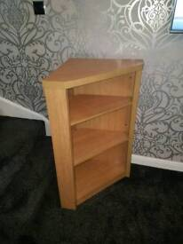 Oak effect corner unit with shelves