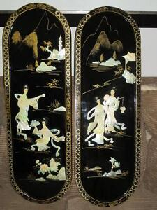 Pair Of Oriental Black Lacquer Mother Pearl Wood Wall