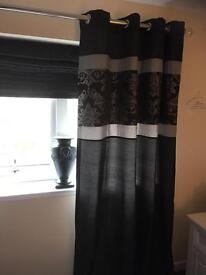 Black curtains faux silk