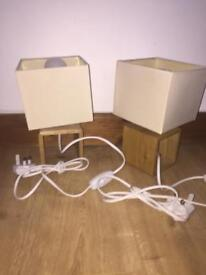 pair of bed side lamps beige wooden base