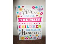 """Wall Signs. """"Mums Rules"""" and """"The Mess""""."""