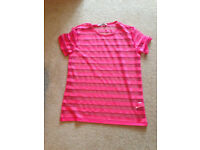 Womens Primark See Through Bright Pink With Stripes T,shirt
