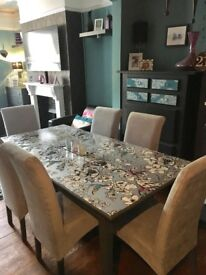Stunning upcycled dining table & 6 chairs