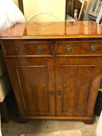 Vintage yew wood tv / Hi-Fi Storage Cabinet with Bi-fold doors.