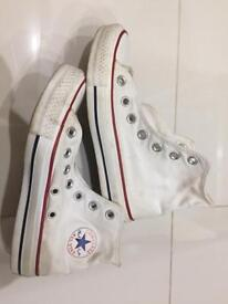 Converse white high rise canvas shoes