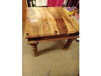Solid high quality square wooden side table
