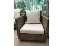 Wicker 2 seater sofa and two armchairs