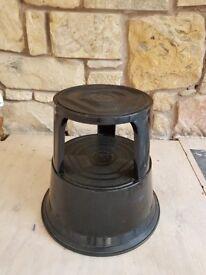 Round black 2 step stool