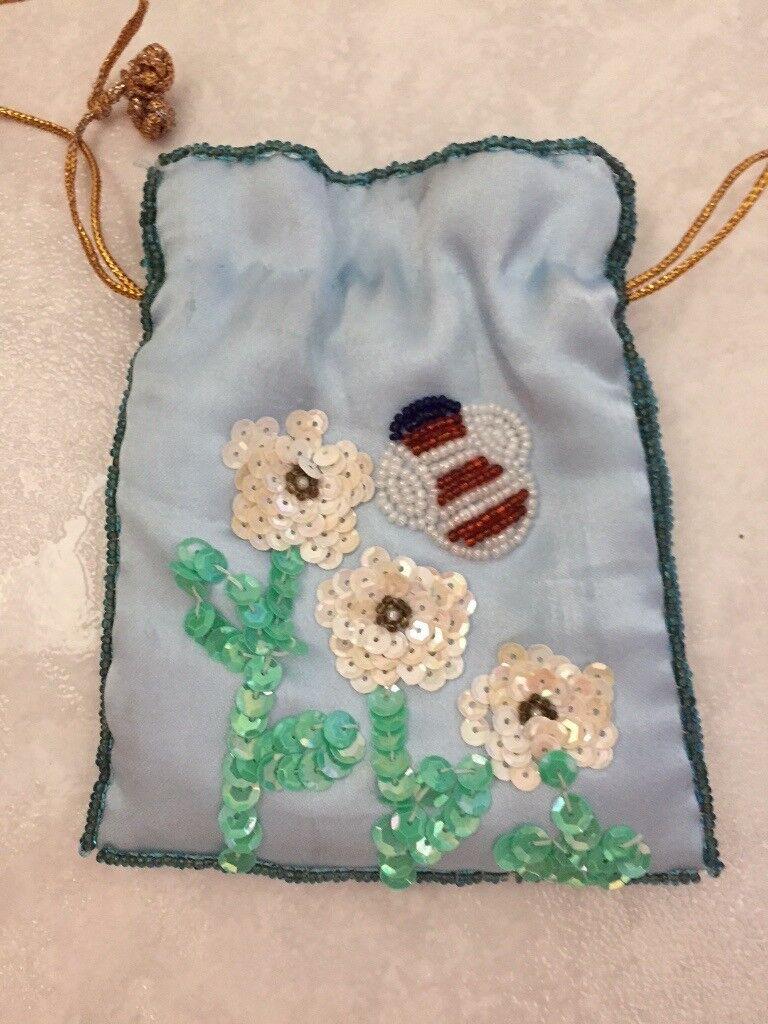 Beaded purse, 14cm by 12 cm