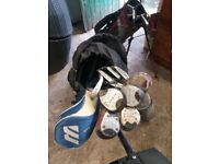 Golf bags x2 + selection of clubs