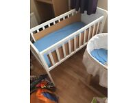 White mothercare standing crib and mattress