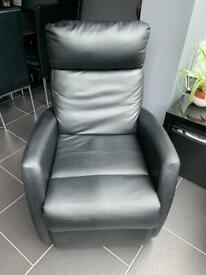 Leather look recliner chair