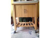 Kitchen Trolley - solid wood with wine rack