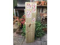 Multi Mix. Handcrafted Garden Wooden Mosaic Inlaid Column.