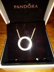 Stunning pandora necklace, 3 lengths, brought 3 months ago and only worn twice .original box