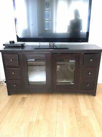 Black Solid Teak Wood TV Console