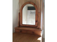 Antique Pine Dressing Table Mirror with 2 Drawers