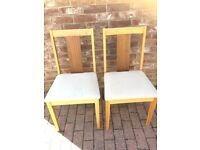 4 pine padded chairs