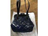 Navy Blue with Black handles and Clasp Lulu Guinness Pollyanna Handbag