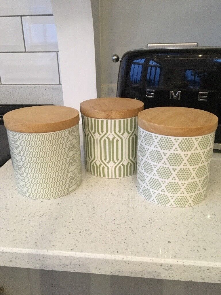 3 Sage Green Pro Cook Tea Coffee And Sugar Canisters