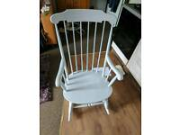 Vintage rocking chair - painted frosted silver