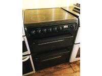 Hotpoint glossy black 60cm Double electric cooker