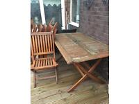 Large garden table with 6 chairs