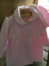 LIKE NEW Emile et Rose 9 month designer light pink coat and beret