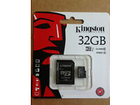 GENUINE KINGSTON 32GB CLASS 10 MICRO SDHC MEMORY CARD WITH SD ADAPTER HC UHS 1(Min Order 5 pcs)