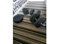 Dumbell weight set and exercise mat