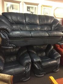 Sofa suite chairs etc. Leather and fabric