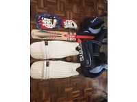 Adult (I'm 6foot tall) cricket kit. Bag, bat, pads, shoes (size 9), gloves and ball