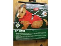 New brown small dog raincoat 40cm (collar band to tail)