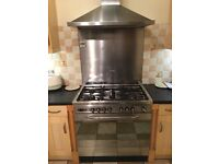 Baumatic large gas/elecric stainless steel cooker with hood and splash back