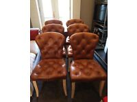 Tan Brown Leather Dining Chairs