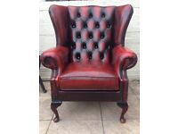 Red Oxblood Leather Queen Anne Chesterfield Wingback Armchair - Chair L👁👁K