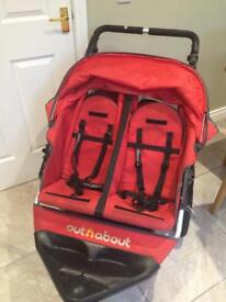 Red out and about double buggy