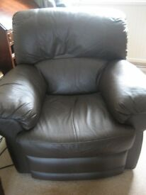 Dark Brown Leather 3 seater settee & reclining armchair