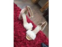 Cream Suede Fluffy Toe Heels Size 6 - NEVER WORN!