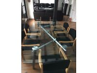 very heavy and large dining table with chairs