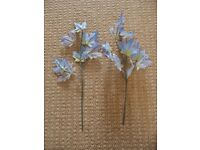 2 Blue and Yellow Artificial Flowers Leaves for a Vase or Flower Arrangement Crafts etc