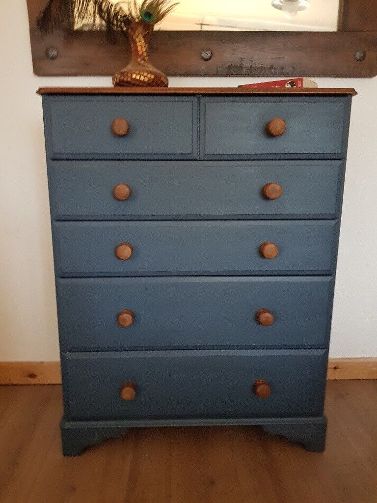 Rustic pine chest of drawers dark blue shabby chic local delivery