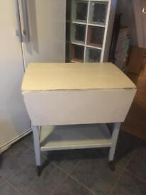 VINTAGE CHALK PAINTED DROP LEAF TROLLEY TABLE - CAN DELIVER