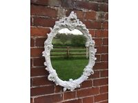 Vintage Rococo mirror painted ivory