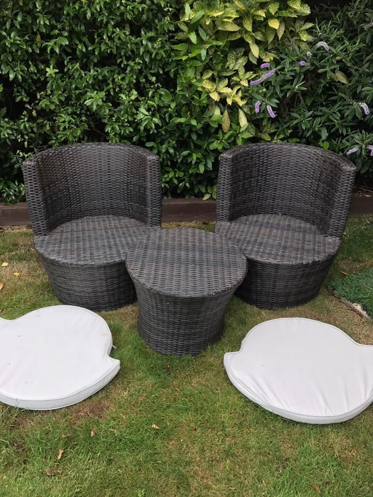 next all weather brown rattan garden furniture set table 2 chairs