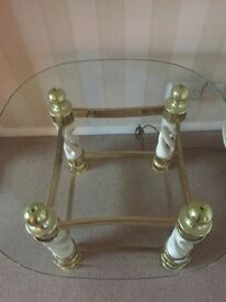 Glass topped lamp table.