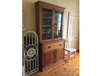 Oak Dresser/Bureau, Glass fronted Bookcase, writing desk and lower cupboard space, H230/W121CM