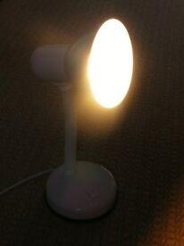 White Lloytron Flexi Flexible Desk Lamp L958WH withPhilips Genie 8W Energy Saver Light Bulb