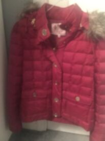 Burgundy JUICY COUTURE QUILTED JACKET, detachable hood and fur collar